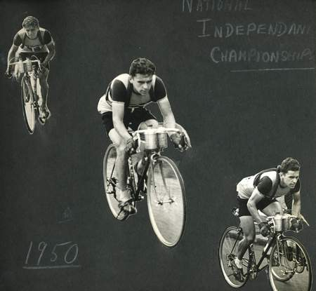 A collage of Ken coming third in the National Independent Championships in 1950
