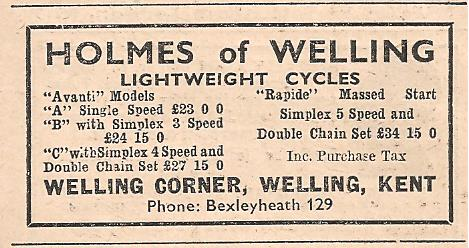 Holmes advert - Cycling June 16th 1955