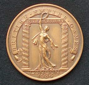 Fred's British Empire Games 1934 Gold Medal as a Cycling Official. Pemberton Arrow rider Wilf Higgins won the 1000-yards Sprint Gold Medal there