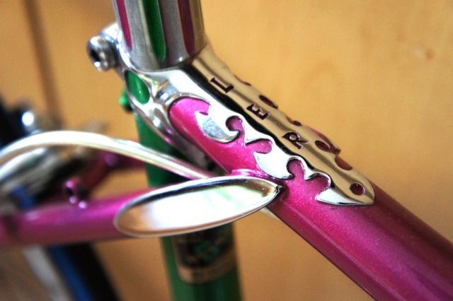 Unique lug designs, note seat cluster and initial 'L E R' cut into tangs on frame and fork crown.