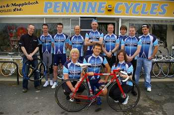Still supporting cycling today, a photograph of this year's team launch