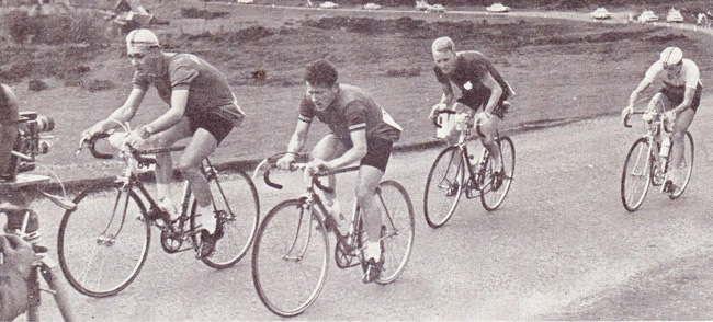 Keith Butler (2nd from left) in 1962 Tour of Britain