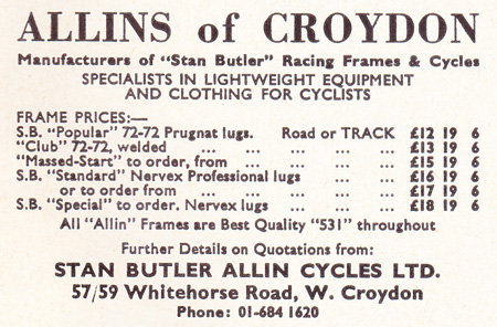 Allins advert from the last Sporting Cyclist, April 1968. Allins supported Sporting Cyclist for a decade, having an advert in nearly every issue.