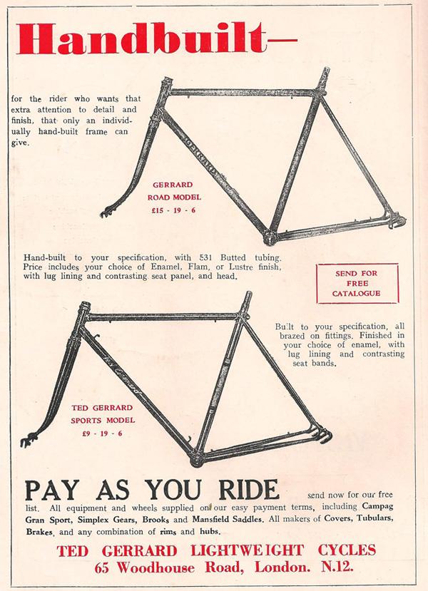 Advert for Gerrard frames Summer 1956 built by Tom?