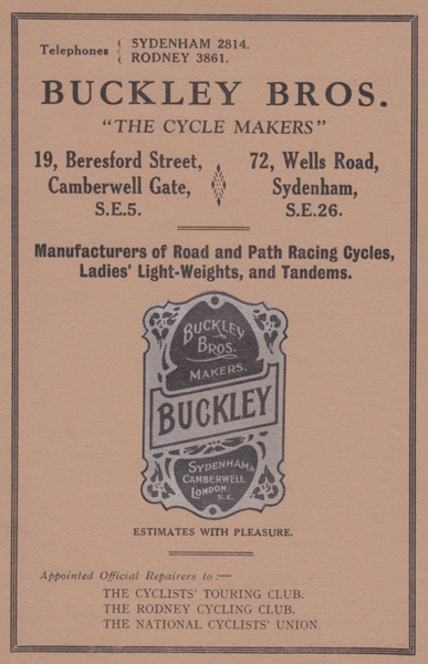 1930s catalogue produced by Buckley Bros. Catalogue images courtesy of the Veteran-Cycle Club online library More catalogue information below