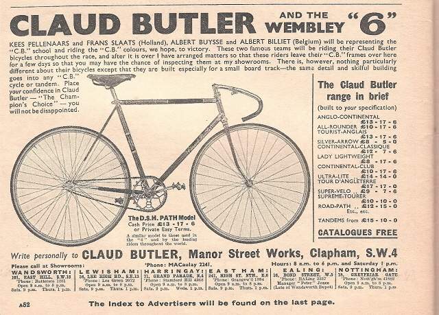 A classic Claud Butler track machine as advertised in Cycling for the Wembley 6-day Cycle Race - 1938 also showing the range of models produced for this year