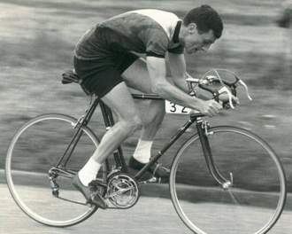 Ray Bennett in a time trial event on his 1957 Duckett
