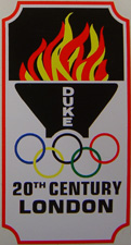Duke headbadge showing Olympic torch and Olympic rings.The Olympics were held in London in 1948.