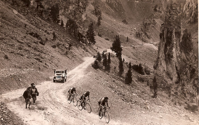 Kubler, Ockers, and Impanis near the summit of the Izoard pass