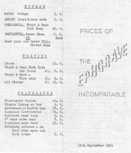 and the price list on the reverse