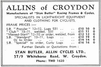 Above: is a copy of an Allin advert dated 1961 showing the models available.
