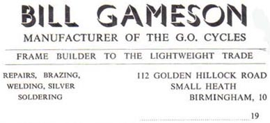Billhead indicating that Bill Gameson built frames for others in the trade, obviously after he had sold the 'Gameson' name as the cycles are listed as 'G.O.'