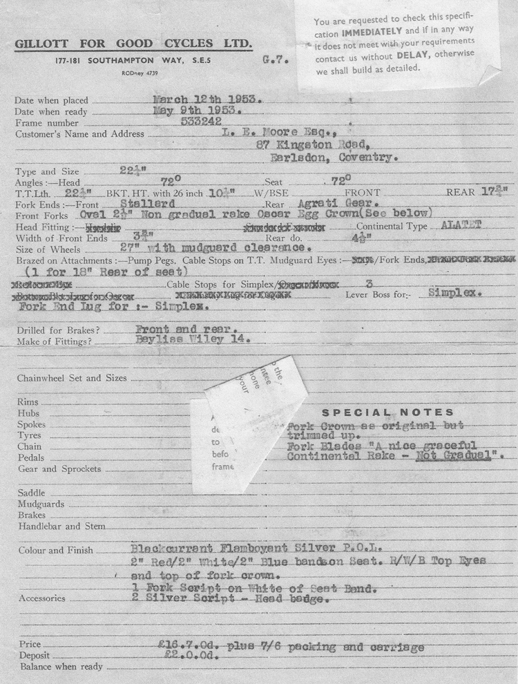 Example of order confirmation form for 1953 Gillott