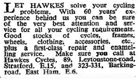 Hawkes advert December 1954 - The Bicycle