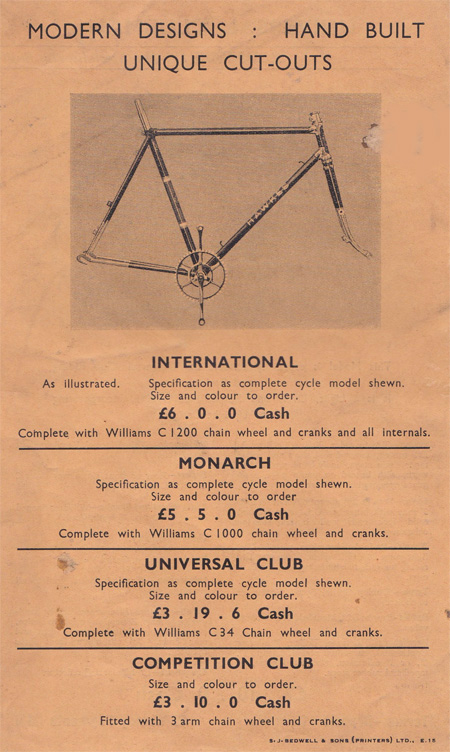 Page from pre-war catalogue