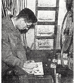 Jack Hearne in his office/workshop