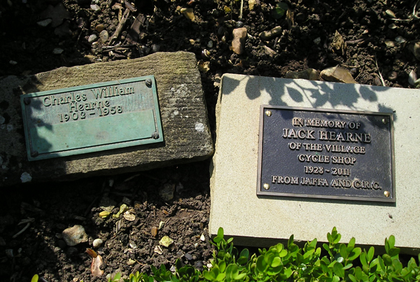Memorial plaque installed following Jack's death in 2011, next to his Father's in the Memorial Gardens next to Stoke Poges Church.