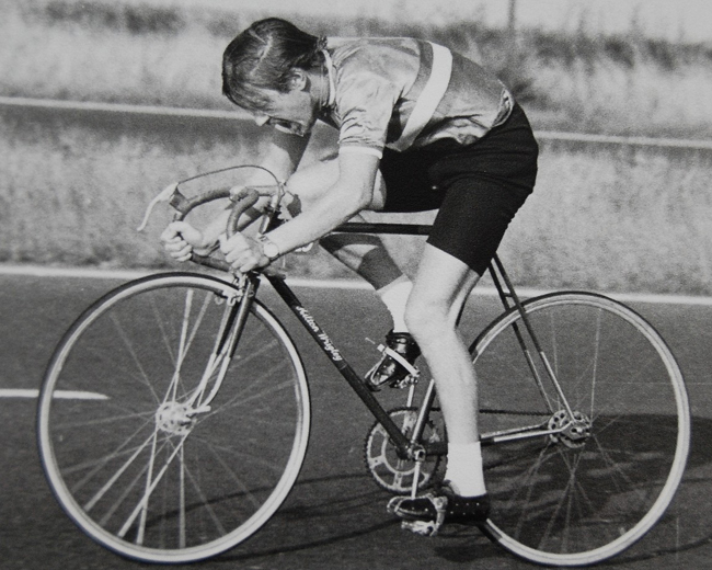 Andrew at speed in a 1970's time trial on his 1958 Hilton Wrigley 'Connoisseur' (Frame No. 3428) with Duprat hexagonal, steel, hollow cranks on a Boehm hollow bottom bracket spindle and Fiamme 28 spoke rear track wheel secured with track nuts. The front sprint has large-flange QR hubs for a quick change in the event of a puncture. Andrew however doesn't seem to have a spare tub.
