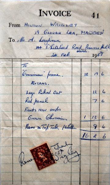 Original 1958 invoice, oddly no frame number listed
