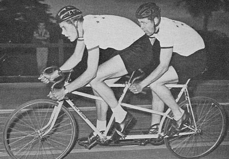 Jon and David Baylis winning a pursuit race at Southampton track on their Blue Riband track tandem c.1960