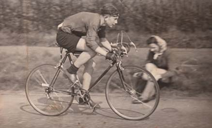 A younger rider on his Jack Holland machine with gears Name not known