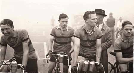 West Bromwich Wheelers Club team at Donington Park in 1938. From L. to R. they are:- Frank Rose, Dennis Hughes, Stan Clark and Jack Holland This picture is unusual in that it depicts road racing instead of the ubiqitous time trialling which was prevalent at the time. Donington Park would have been a 'closed' circuit.