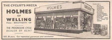 Advert from Cycling 1948 showing the shop - established 25 years