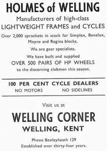 Holmes advert from Sporting Cyclist May 1957