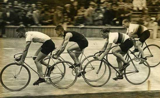Jack Sibbit (lying second) racing Dennis Horn, Toni Merkens and another German rider, Albert Richter, at Fallowfield in the 1930's