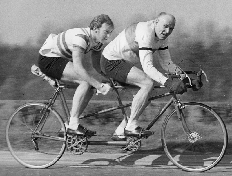 H R Morris and Jim Hornett (Lea Valley RC) - L V Tandem 30 on E1 Course 1971 Travelling close to 40mph downhill on 106