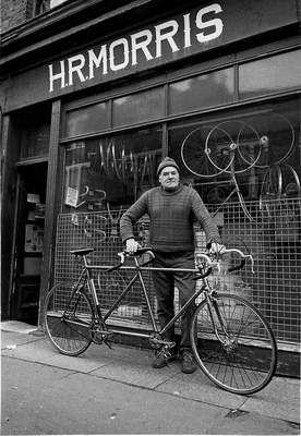 H R Morris with tandem outside the shop at 28 Orford Road (Image Peter Marlow)