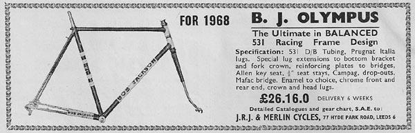 Deatails of 1968 J R J 'Bob Jackson Olympus'
