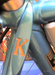 Distinctive topeye and fork crown on a Knight cycle