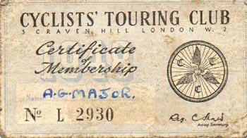 Arthur Major's CTC membership card 1948