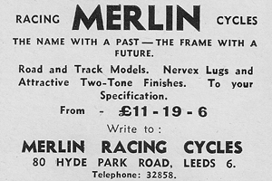 Merlin advert from the Bob Jackson address in Leeds Sporting Cyclist April 1960