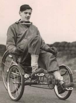Son Maurice on one of Walt's tricycle recumbents