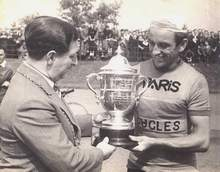 George Kessock receiving his cup as winner of the 1947 Brighton - Glasgow