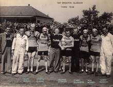 Paris team - 1947 Brighton-Glasgow. Clive Parker is looking over shoulder of G Kessock, Parker would soon join the team - he was working for Rensch