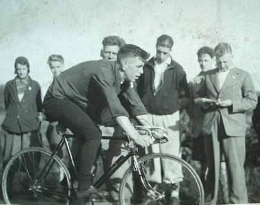 Fred, on the right, timekeeping for a local time-trial