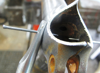 This and right image showing pins in place before brazing
