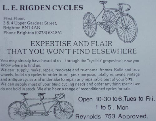 L E Rigden Cycles advert, post-1976 (when 753 was introduced by Reynolds)