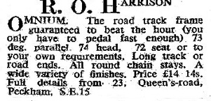 Series of adverts showing R O Harrison models as listed in 'The Bicycle' early 1955