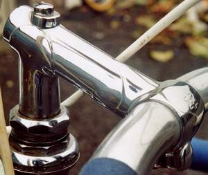 Front and side images of the R O Harrison custom made lapped steel stem which is advertised in some of the catalogues