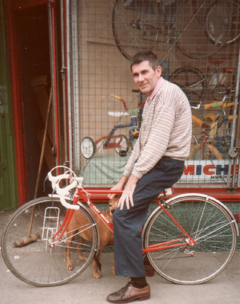 Here is Cliff sitting astride an extra-small frame he built for a young rider outside 81a Whitehorse Rd