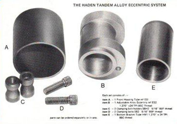 Eccentric bottom bracked used for front axle. The eccentric bottom bracket rotates in the circular shell and is locked in position with the two bolts when the correct chain tension is achieved