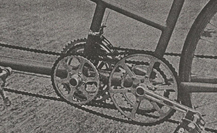 View of the Philbrook/Lyon tandem transmission incorporating three bottom bracket shells plus an extra strut. I am still working out the gearing implications!
