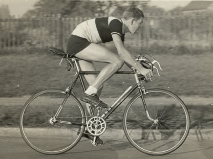 Brian Sandilands in a 25-mile time trial in 1957 on his Upton