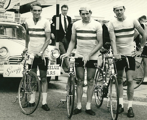 Trevor Smith, John Morris and Frank in Milk Race, 1959 (Ron Newton leaning on post in background)