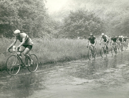 Cheddar Gorge in the rain. Frank in third place, Alan Ramsbottom in fourth