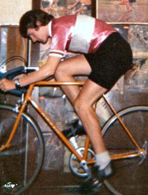 Andrew on his Walter Greaves 'King of the Mountains' riding on the rollers in 1975